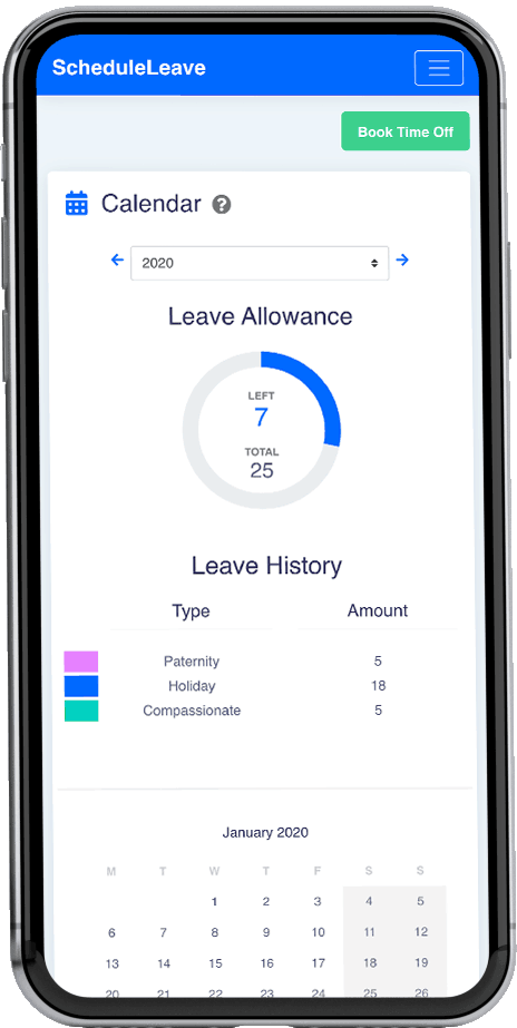 ScheduleLeave - Calendar page to view all leave booked for the year