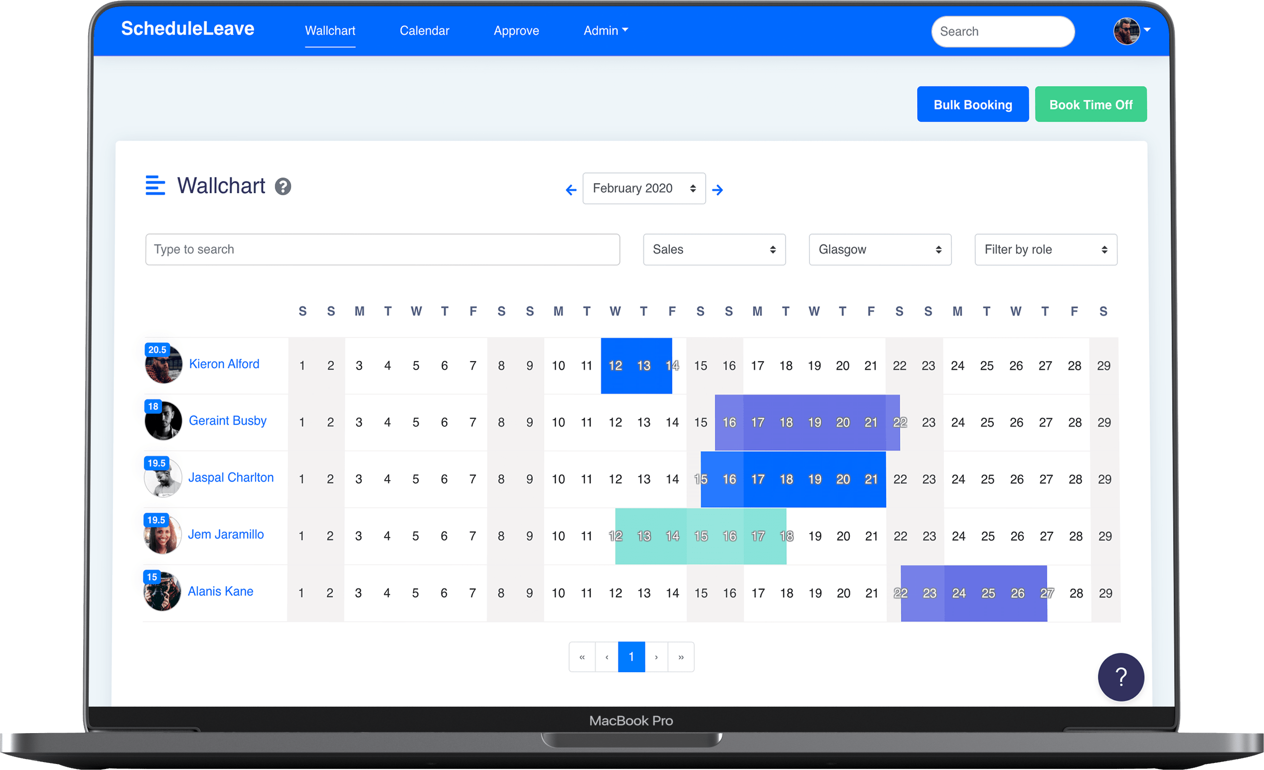 ScheduleLeave - Wallchart to view employee holiday booked