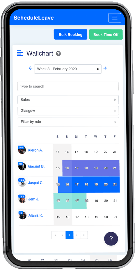 ScheduleLeave - Wallchart to view employee leave booked