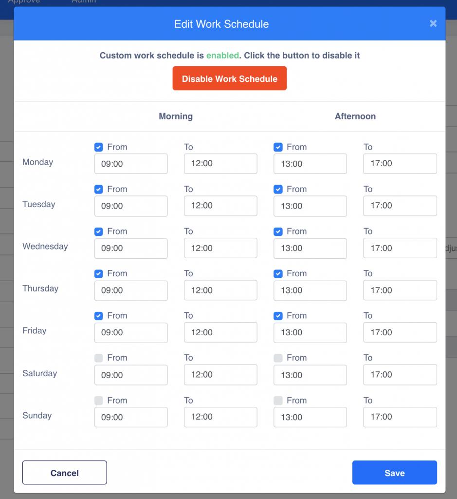 Editable Work Schedules