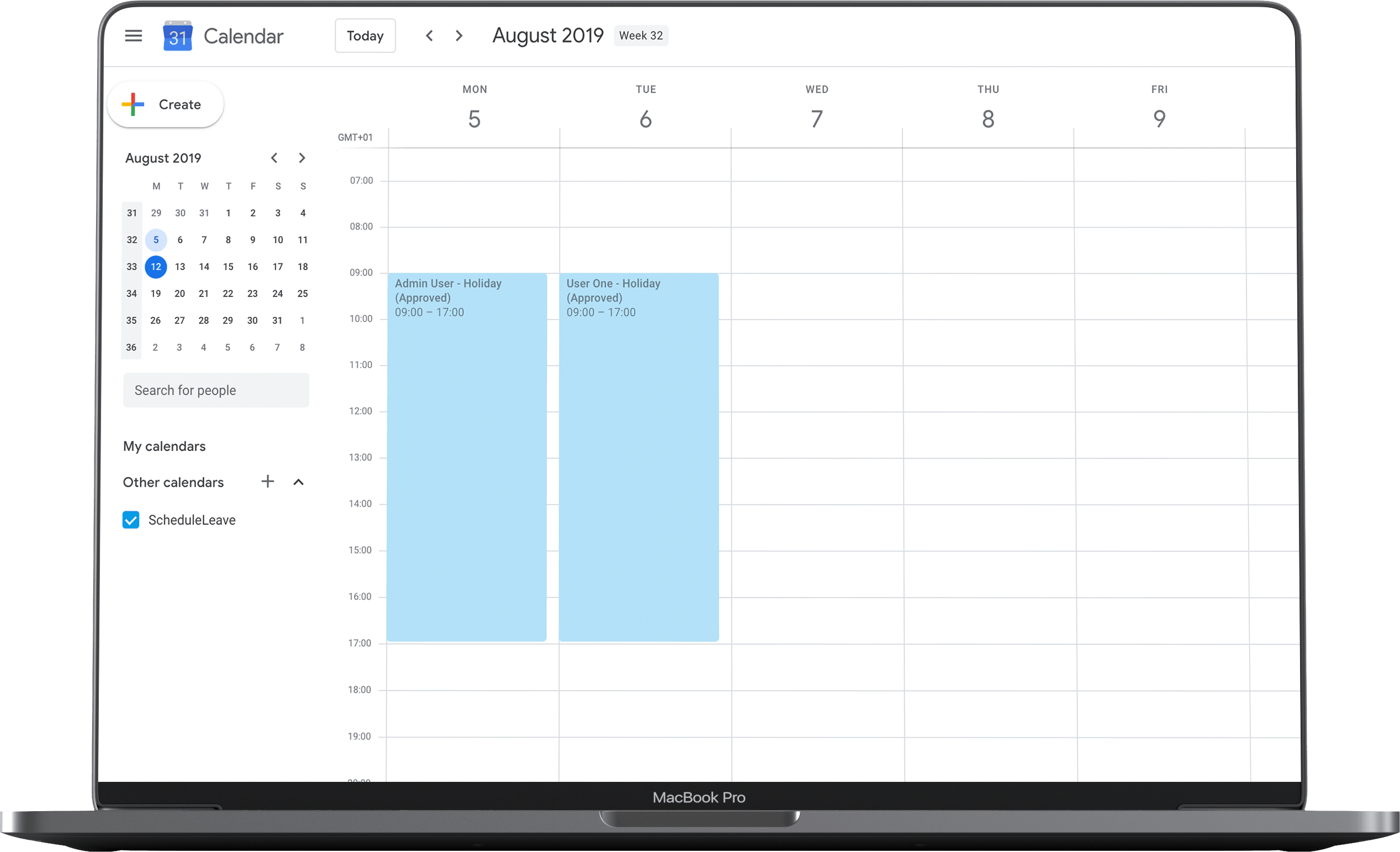 Google and Outlook Calendar integration for employee leave