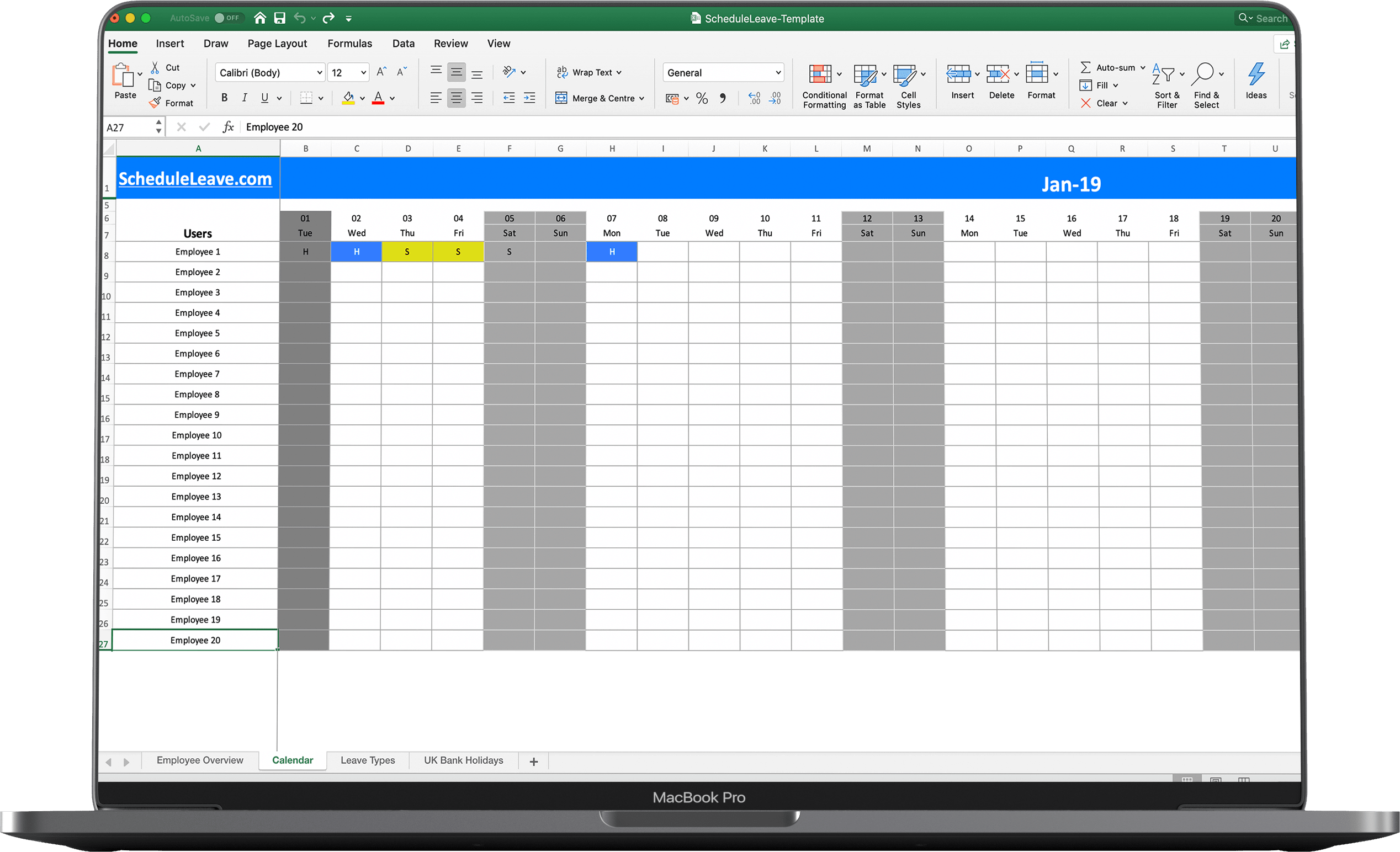 Excel Calendar Template 2020 from scheduleleave.com