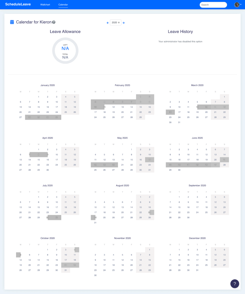 Viewing another users calendar page when leave types have been hidden