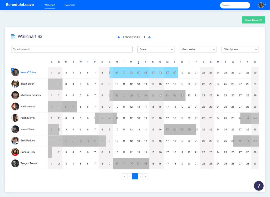 Wallchart when leave types have been hidden