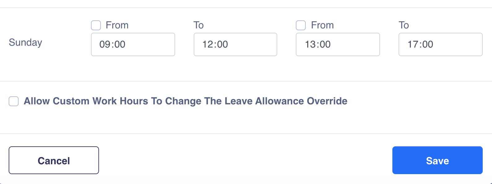 Work schedule adjust allowance
