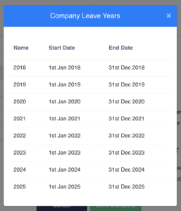 Company leave years